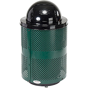 Global™ Deluxe Thermoplastic Coated 32 Gallon Perforated Receptacle w/Dome Lid & Base - Green