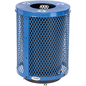 Global™ Deluxe Thermoplastic 32 Gallon Mesh Recycling Receptacle w/Flat Lid & Base - Blue