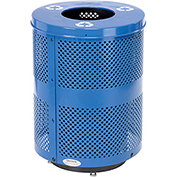 Global™ Deluxe Thermoplastic 32 Gallon Perforated Recycling Receptacle w/Flat Lid & Base - Blue