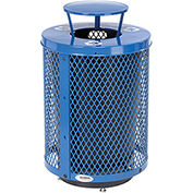 Global™ Deluxe Thermoplastic 32 Gallon Mesh Recycling Receptacle w/Rain Bonnet Lid & Base - BL