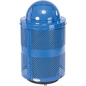 Global™ Deluxe Thermoplastic 32 Gallon Perforated Recycling Receptacle w/Dome Lid & Base - Blue