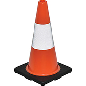 "18"" Traffic Cone, Reflective, Black Base, 3 lbs"