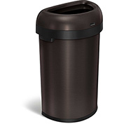 simplehuman® Semi-Round Open Top Can, 16 Gallon Dark Bronze - CW1478