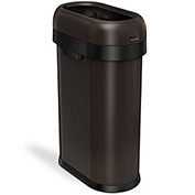 simplehuman® Slim Oval Open Top Can, 13 Gallon Dark Bronze - CW1477