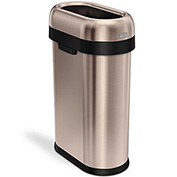 simplehuman® Slim Oval Open Top Can, 13 Gallon Rose Gold - CW1482