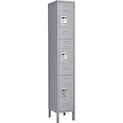 Infinity™ Locker 3 Tier 12 x 15 x 24 3 Door Ready To Assemble Gray