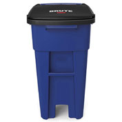 Rubbermaid Brute® Rollout Waste Container 32 Gallon Blue - 1971943 - Pkg Qty 2