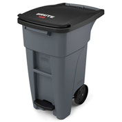 Rubbermaid Brute® Step-On Rollout Waste Container 32 Gallon Gray - 1971944