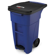 Rubbermaid Brute® Step-On Rollout Waste Container 32 Gallon Blue - 1971946