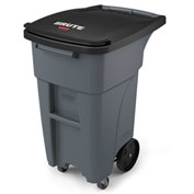 Rubbermaid Brute® Rollout Waste Container W/ Casters 32 Gallon Gray - 1971947