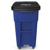 Rubbermaid Brute® Rollout Waste Container W/ Casters 32 Gallon Blue - 1971949