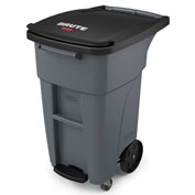 Rubbermaid Brute® Step-On Rollout Waste Container W/ Casters 32 Gallon Gray - 1971950