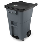 Rubbermaid Brute® Step-On Rollout Waste Container W/ Casters 50 Gallon Gray - 1971962