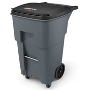 Rubbermaid Brute® Rollout Waste Container W/ Casters 65 Gallon Gray - 1971971