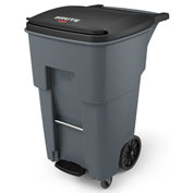Rubbermaid Brute® Step-On Rollout Waste Container W/ Casters 65 Gallon Gray - 1971974
