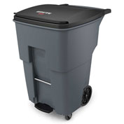 Rubbermaid Brute® Step-On Rollout Waste Container W/ Casters 95 Gallon Gray - 1971997