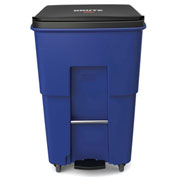 Rubbermaid Brute® Step-On Rollout Waste Container W/ Casters 95 Gallon Blue - 1971999