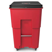 Rubbermaid Brute® Medical Waste Rollout Container W/ Casters 95 Gallon Red - 1972000
