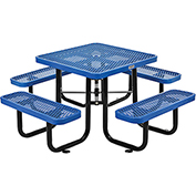 "36"" Square Expanded Metal Picnic Table Blue"