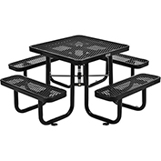 "36"" Square Expanded Metal Picnic Table Black"