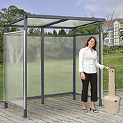 "Bus Smoking Shelter Flat Roof 3-Side Open Front  With Beige 5 Gallon Outdoor Ashtray 6'5""x3'8""x7'"
