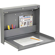"Folding Wall Mounted Locking Shop Desk, 20""W x 3-3/8""D x 16-3/8""H, Gray"