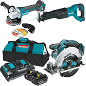 Makita 18V LXT Lithium-Ion Battery Starter Pack & BONUS 3 Pc Tool Kit, XRJ04Z, XAG03Z, XSS02Z