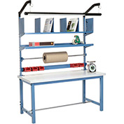 Packaging Workbench Plastic Square Edge - 60 x 30 with Riser Kit