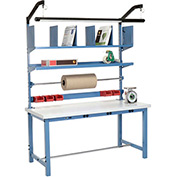 Electronic Packaging Workbench Plastic Square Edge - 60 x 30 with Riser Kit