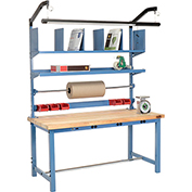 Electronic Packaging Workbench Maple Butcher Block Square Edge - 60 x 30 with Riser Kit