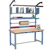 Electronic Packaging Workbench Maple Butcher Block Safety Edge - 72 x 30 with Riser Kit