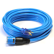 Century D14412050BL ProLock Extension Cord, 12/3 SJTW, 50', Lighted Ends, Blue