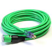 Century D14412050GN ProLock Extension Cord, 12/3 SJTW, 50', Lighted Ends, Green