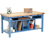 Electronic Packaging Workbench Maple Butcher Block Square Edge - 72 x 30 with Lower Shelf Kit