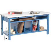 Electronic Packaging Workbench ESD Square Edge - 72 x 30 with Lower Shelf Kit