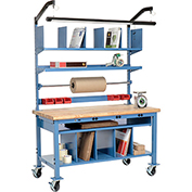 Complete Mobile Electronic Packaging Workbench Maple Butcher Block Safety Edge - 60 x 30
