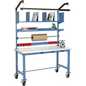 Mobile Electronic Packaging Workbench Plastic Safety Edge - 60 x 30 with Riser Kit