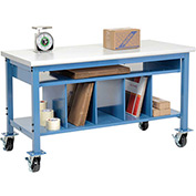 Mobile Packaging Workbench Plastic Safety Edge - 72 x 30 with Lower Shelf Kit