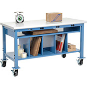 Mobile Electronic Packaging Workbench Plastic Safety Edge - 60 x 30 with Lower Shelf Kit