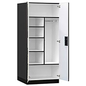 "Salsbury Designer Wood Storage Cabinet - Combination - 32"" W  x 24"" D x 76"" H - Black - Assembled"