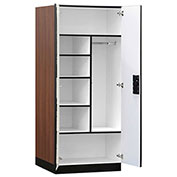 "Salsbury Designer Wood Storage Cabinet - Combination - 32""Wx24""Dx76"" H - Mahogany - Assembled"
