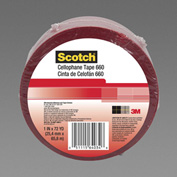 "3M Cellophane Tape 660 1-1/2"" x 72 Yds 2.5 Mil Red - Pkg Qty 24"