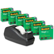 "Scotch® Magic™ Tape 3/4"" x 1000"", 6 Rolls & Black Tape Dispenser"