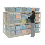 "Record Storage Rack Tan 96""W  x  48""D  x  60""H With Polyethylene File Boxes"