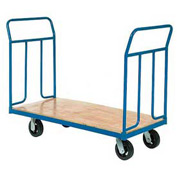 "Wood Deck Platform Truck 6"" Mold-On Rubber Wheels 2400 Lb. Capacity"