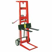 Wesco® Winch Operated Adjustable Forks Lift Truck 260018 2 Wheel 750 Lb.