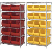 "Quantum WR-6974 Chrome Wire Shelving With 10 30""D Bins Yellow, 36x30x74"