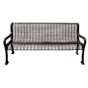 "72"" Roll Formed Wire Bench with Back and Armrests - Black"