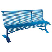 "72"" Heavy Duty Steel Rod Bench with Back - Blue"