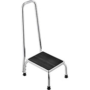 Global™ Medical Step Stool with Handrail, Non-Skid Rubber Footstool Platform